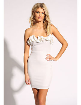 White Ruffle Strapless Bodycon Dress by Love Culture