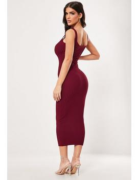 Red Popper Ribbed Knitted Midaxi Dress by Missguided