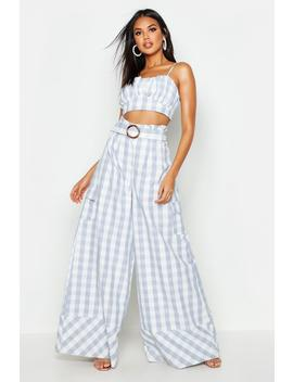 Woven Gingham Extreme Wide Leg Pocket Trouser by Boohoo