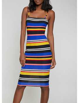 Striped Rib Knit Cami Dress by Rainbow