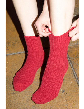 red-knit-socks by brandy-melville
