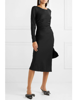Tondio Ruched Stretch Silk Satin Dress by By Malene Birger
