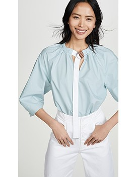 Tie Neck 3/4 Sleeve Top by Tibi