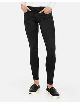 Mid Rise Denim Perfect Lift Black Jean Leggings by Express