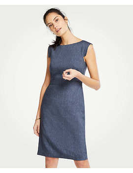 The Petite Cap Sleeve Sheath Dress In Linen Blend by Ann Taylor