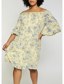 Plus Size Smocked Floral Off The Shoulder Dress by Rainbow
