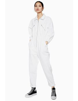 white-denim-utility-zip-boiler-suit by topshop
