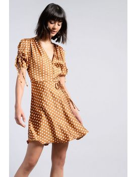 **Spot Button Front Dress By Glamorous by Topshop