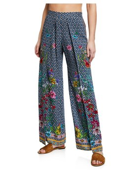 Dolce Dream Printed Split Leg Coverup Pants by Johnny Was