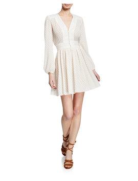 Dot Print Plisse V Neck Short Dress by Zimmermann
