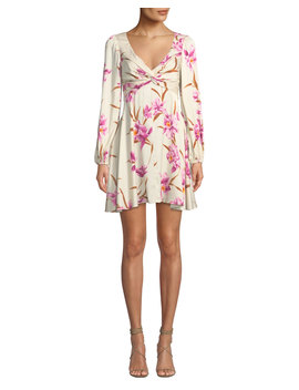 Corsage Knot Front Floral Short Cocktail Dress by Zimmermann