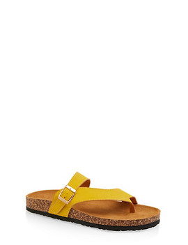 Asymmetrical Toe Ring Footbed Slide Sandals by Rainbow
