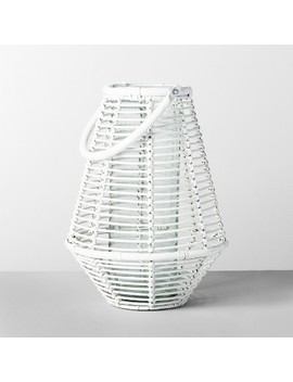 "15.5"" X 11.5"" Rattan Lantern Candle Holder White   Opalhouse by Opalhouse"