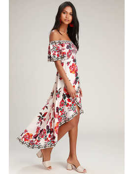 Danica Ivory Floral Print Smocked High Low Maxi Dress by Lulus