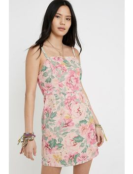 Uo Floral Twill Mini Dress by Urban Outfitters