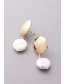 Young Frankk Coin Pearl Drop Earrings by Young Frankk