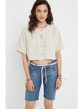 Uo Leo Linen Cropped Button Through Blouse by Urban Outfitters
