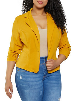 Plus Size Ruched Sleeve One Button Blazer by Rainbow