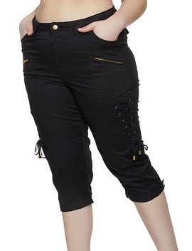 Plus Size Lace Up Capri Pants by Rainbow