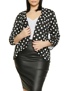 Plus Size Printed Ruched Sleeve Blazer by Rainbow
