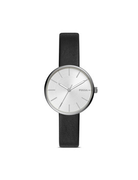 Hutton Three Hand Black Leather Watch by Fossil