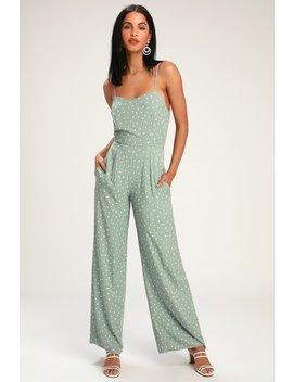 Shawnee Sage Green Print Sleeveless Wide Leg Jumpsuit by Lulus