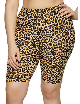 Plus Size Leopard Print Bike Shorts by Rainbow