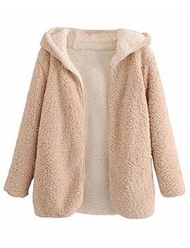 Doballa Women's Reversible Open Front Shaggy Cardigan Oversized Hooded Fleece Teddy Coat Jacket by Doballa
