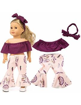 Livoty Doll Clothes Outfits Set Kids Toy Shirt Pants Suit Headband 18 Inch American Toy Girl Doll Accessory Toy (Purple) by Amazon