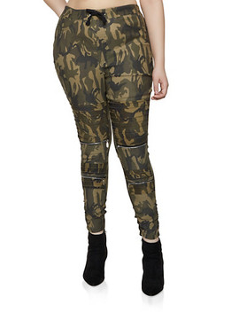 Plus Size Camo Ruched Moto Jeggings by Rainbow