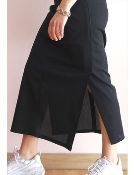 Vintage 90s Black Long Skirt by When The Past Was Present