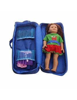 "Travel Suitcase Carrier Storage Sleeping Bag Accessories For American Girl Doll / 18"" Dolls (Blue) by Chiccc"