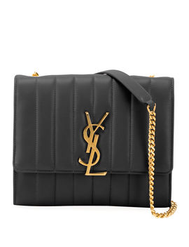 Vicky Monogram Ysl North/South Quilted Leather Wallet On Chain by Saint Laurent