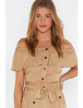 Button Front Off Shoulder Top by Nasty Gal