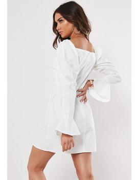 White Poplin Shirring Sleeve A Line Dress by Missguided