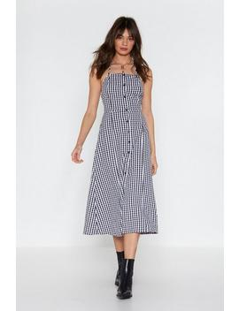 Hang In Square Gingham Halter Dress by Nasty Gal