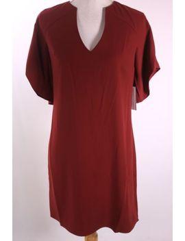 H Halston Notch Neck Flared Sleeve Dress Xcp152190 Burgundy Size 6 12 Nwt by Halston Heritage