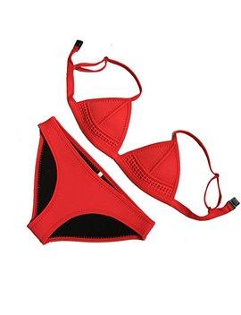 Zafuaz Women's Halter Top Bikini Set Triangle Two Piece Neoprene Swimsuits by Zafuaz
