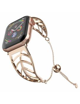 Uoo Moo Women Bracelet Compatible Apple Watch Band 38mm/40mm/42mm/44mm, Ladies Girls Stainless Stee Metal Strap Jewelry Wristband Bangle Chain Compatible Apple I Watch 1 2 3 4 by Uoo Moo