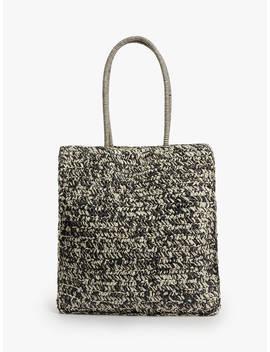 John Lewis & Partners Carina Crochet Shopper Bag, Black Neutral by John Lewis & Partners