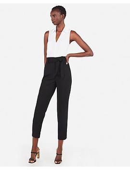 Slim Fit Lace Back Sleeveless Portofino Shirt by Express
