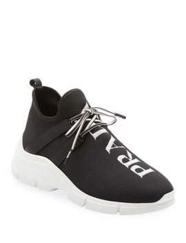 Knit Logo Lace Up Sneakers by Prada