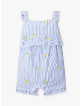 John Lewis & Partners Baby Duck Embellished Stripe Romper, Blue/Multi by John Lewis & Partners