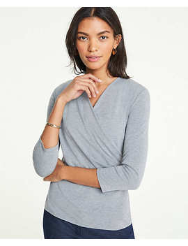 3/4 Sleeve Wrap Top by Ann Taylor