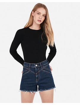 Super High Waisted Seamed Fray Hem Denim Shorts by Express