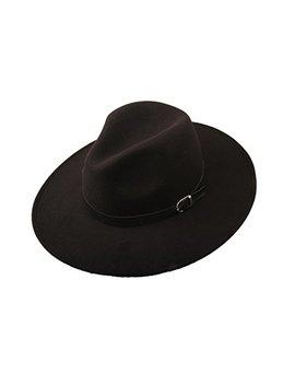 Prefe Women Wide Brim Vintage Wool Jazz Hat Panama Hat With Belt by Prefe