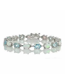 Sterlilng Silver Gemstone And Created White Opal 7x5mm Oval Cut Tennis Bracelet by Ice Gems