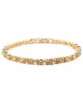 "Rizilia Eternity Tennis Bracelet & Round Cut Cz In Yellow Gold Plated, 7"" by Rizilia"