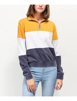 Zine Darby Yellow, White &Amp; Blue Color Block Quarter Zip Sweatshirt by Zine
