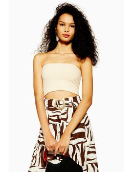 Petite Oat Ribbed Bandeau Top by Topshop